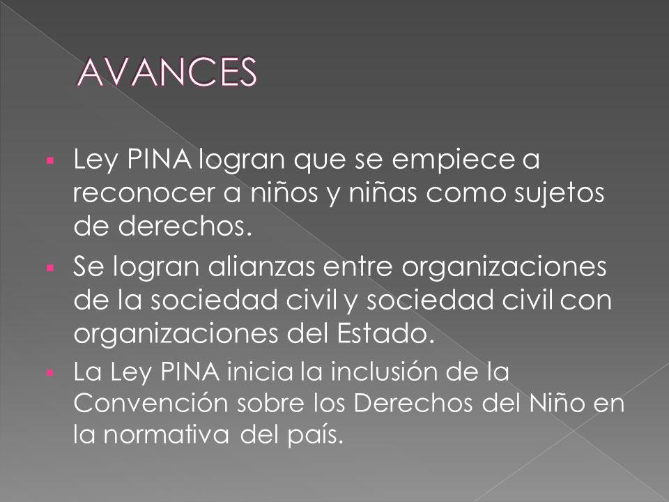 AVANCES Ley PINA logran que se empiece a reconocer a niños y niñas como sujetos de derechos.