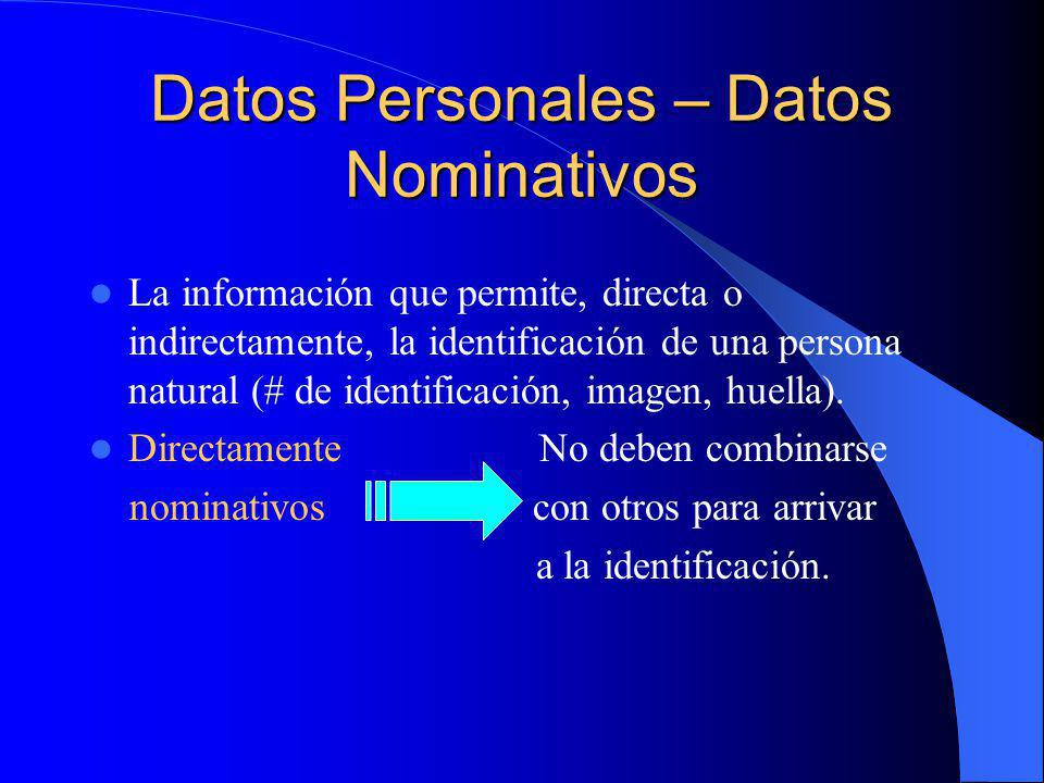 Datos Personales – Datos Nominativos