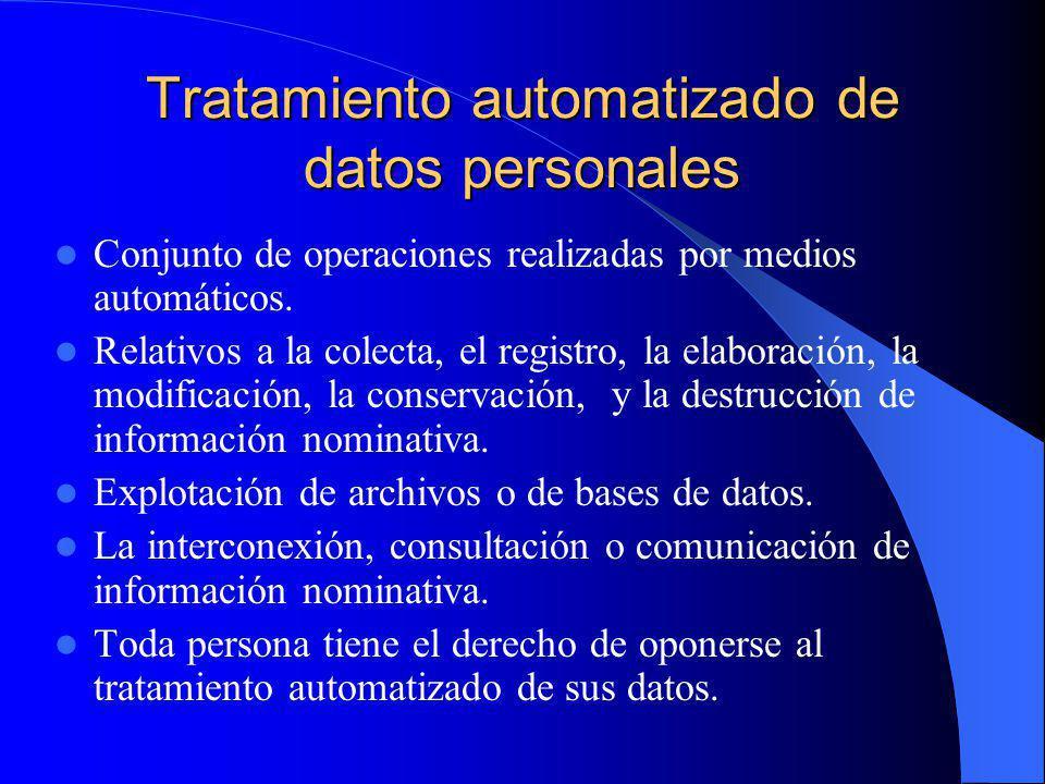 Tratamiento automatizado de datos personales