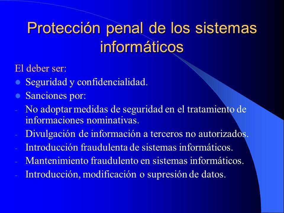 Protección penal de los sistemas informáticos