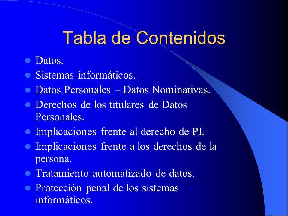 Tabla de Contenidos Datos. Sistemas informáticos.