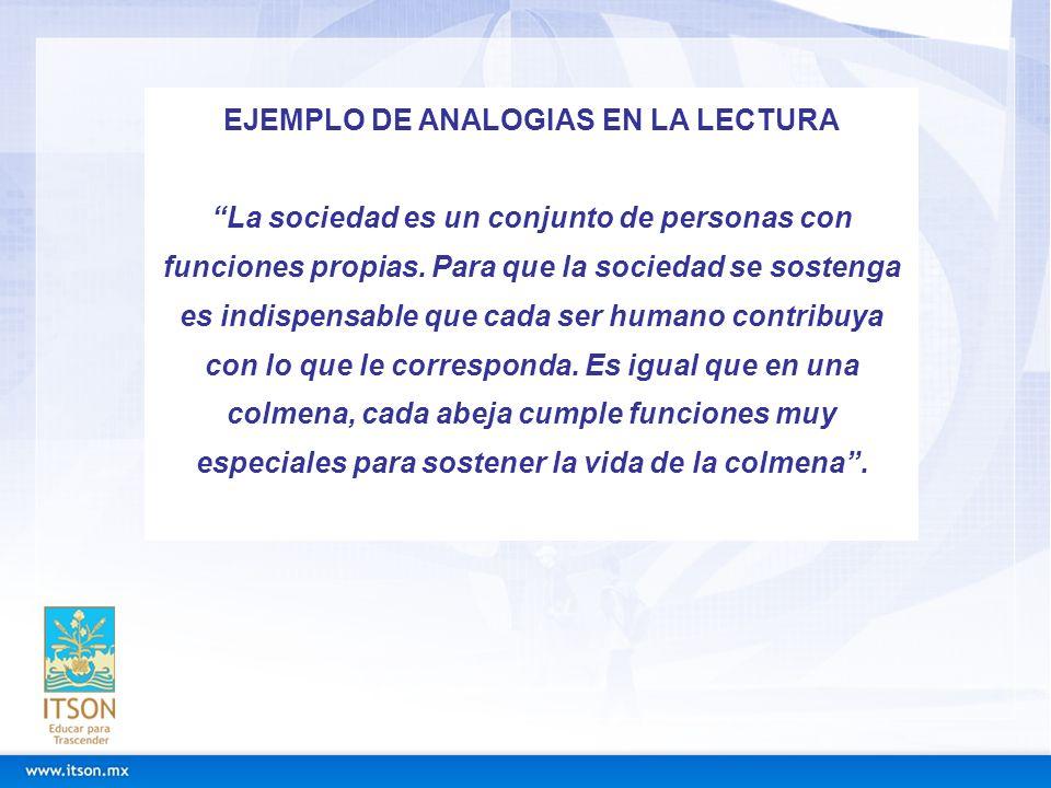 EJEMPLO DE ANALOGIAS EN LA LECTURA