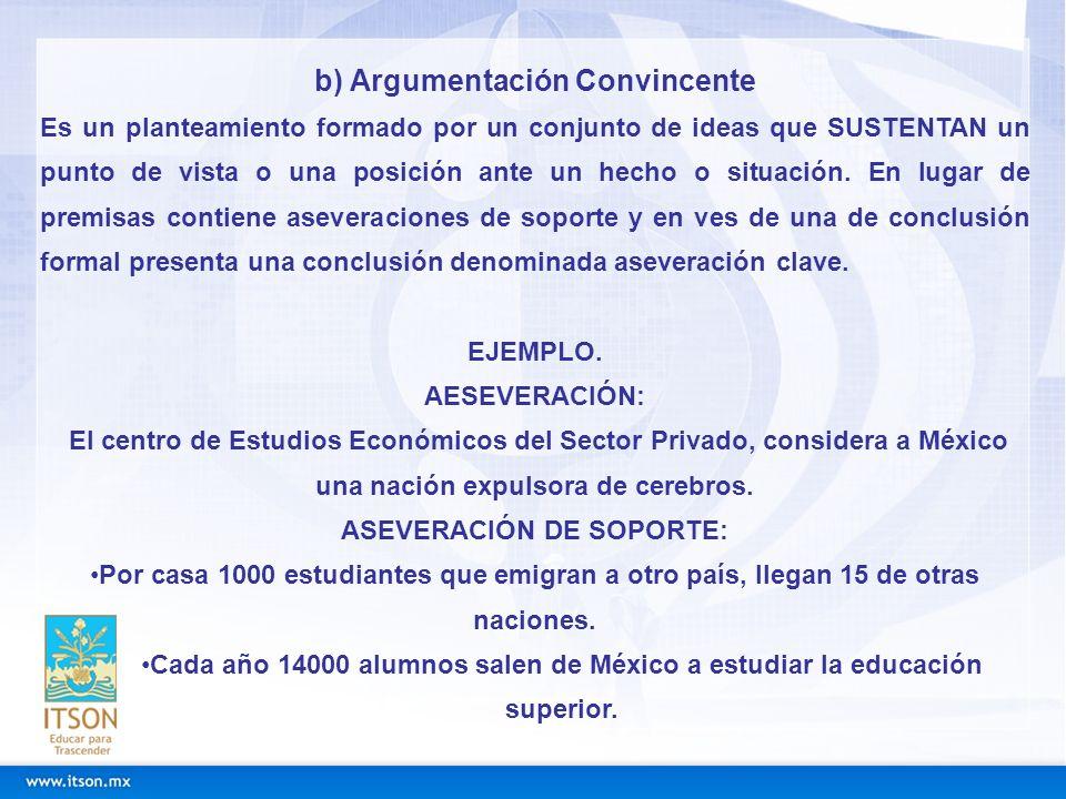 b) Argumentación Convincente ASEVERACIÓN DE SOPORTE: