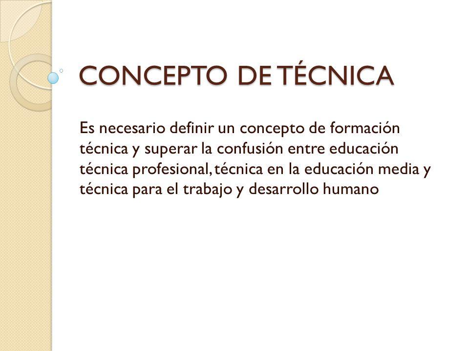 CONCEPTO DE TÉCNICA