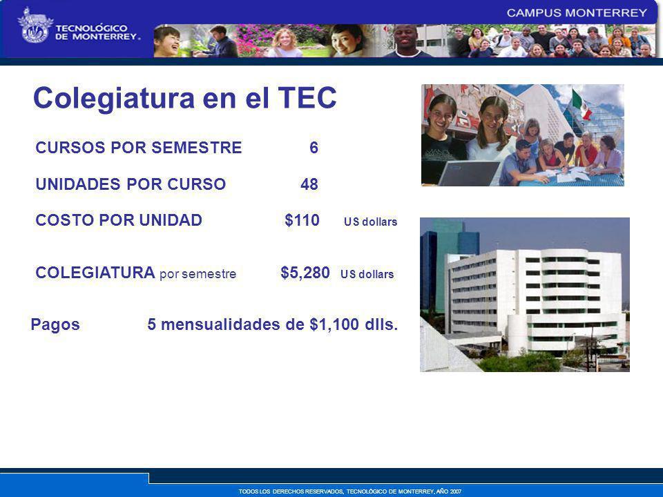 Colegiatura en el TEC CURSOS POR SEMESTRE 6 UNIDADES POR CURSO 48