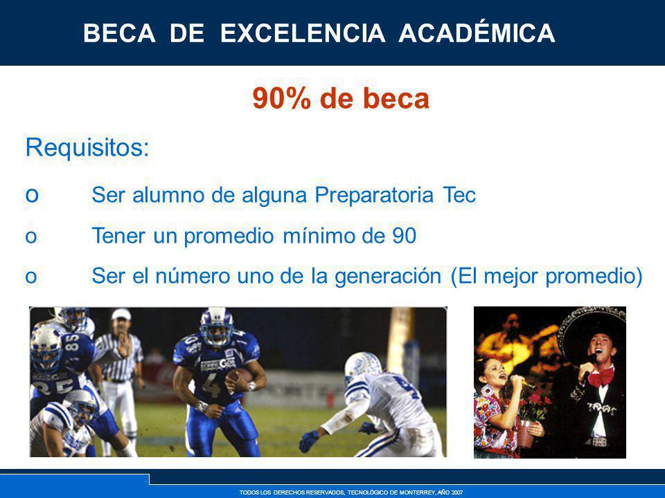 90% de beca BECA DE EXCELENCIA ACADÉMICA Requisitos:
