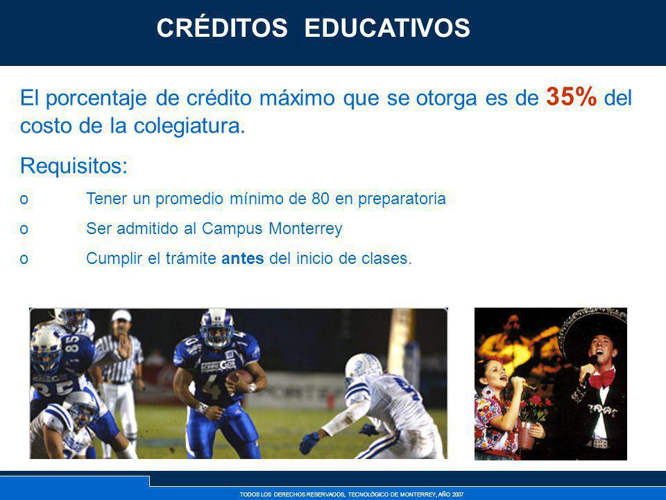 CRÉDITOS EDUCATIVOS Créditos Tec. El porcentaje de crédito máximo que se otorga es de 35% del costo de la colegiatura.