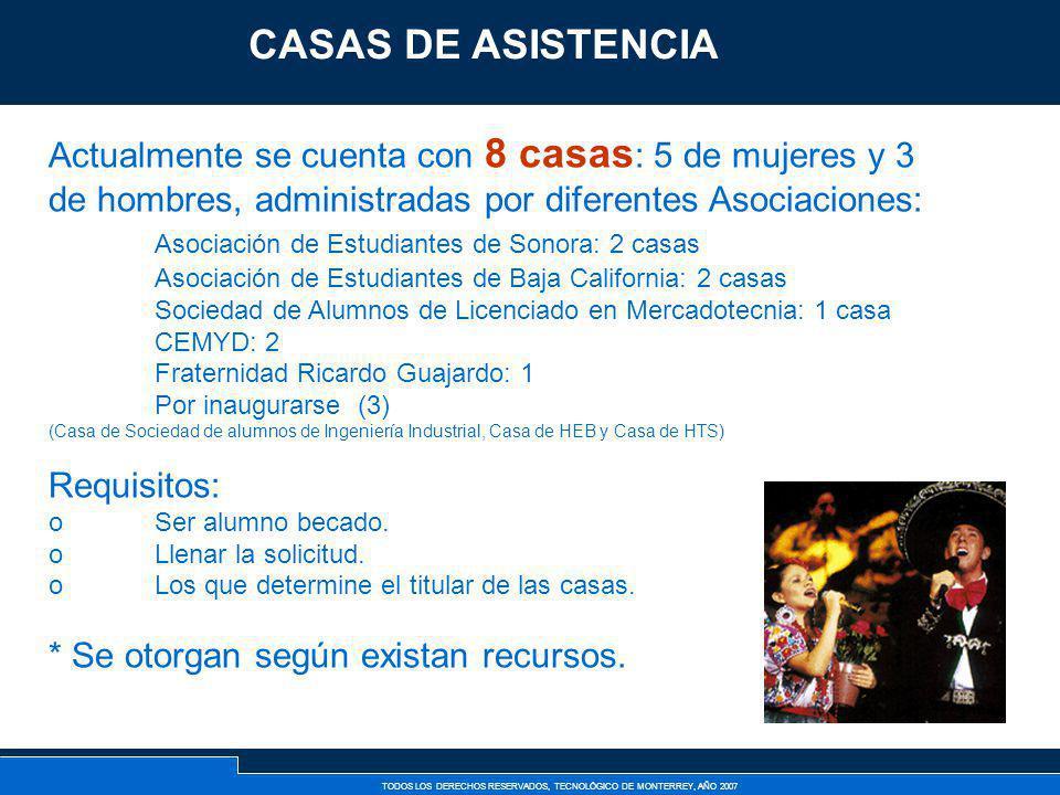 CASAS DE ASISTENCIA Actualmente se cuenta con 8 casas: 5 de mujeres y 3 de hombres, administradas por diferentes Asociaciones: