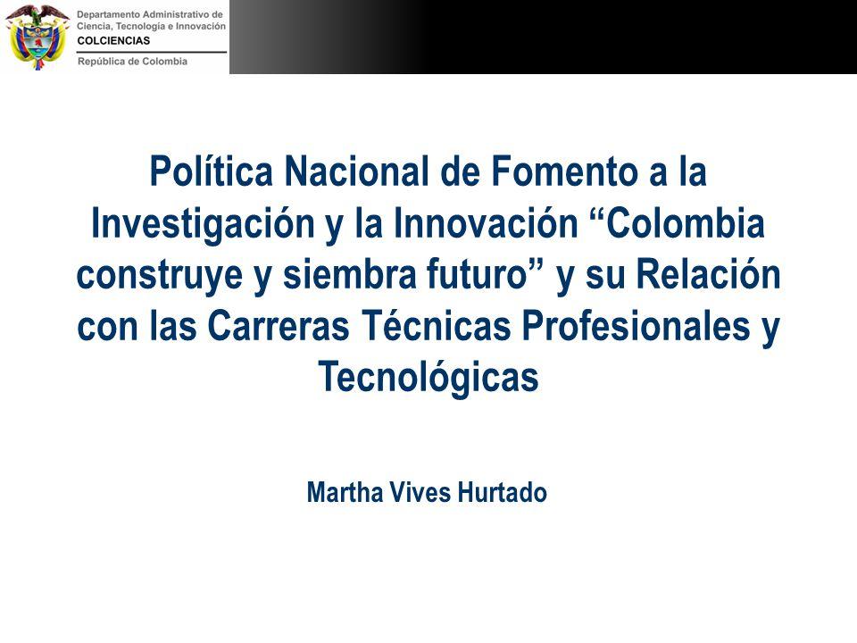 Política Nacional de Fomento a la Investigación y la Innovación Colombia construye y siembra futuro y su Relación con las Carreras Técnicas Profesionales y Tecnológicas