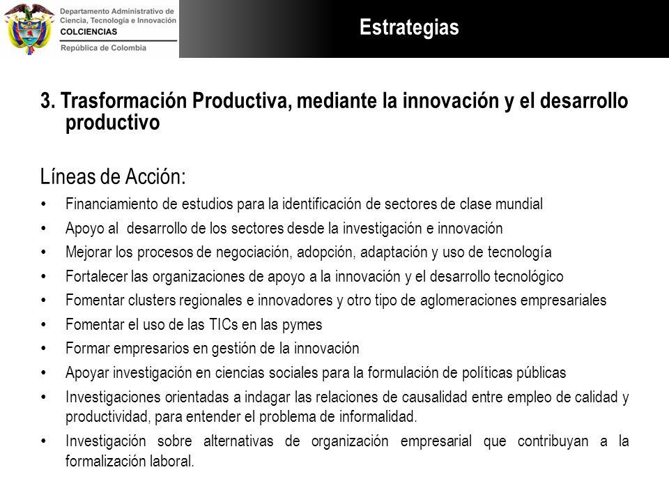 Estrategias 3. Trasformación Productiva, mediante la innovación y el desarrollo productivo. Líneas de Acción: