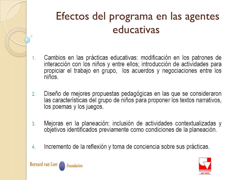 Efectos del programa en las agentes educativas