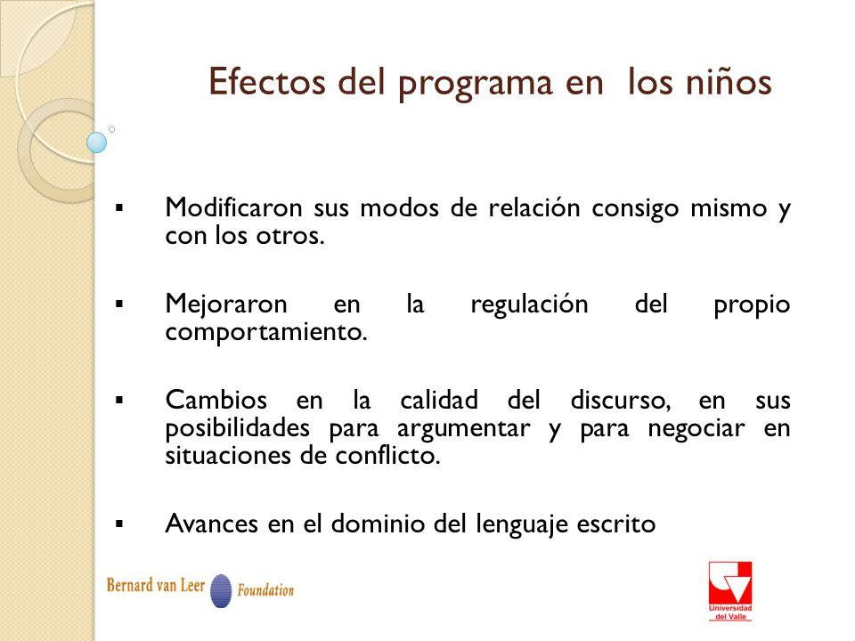 Efectos del programa en los niños