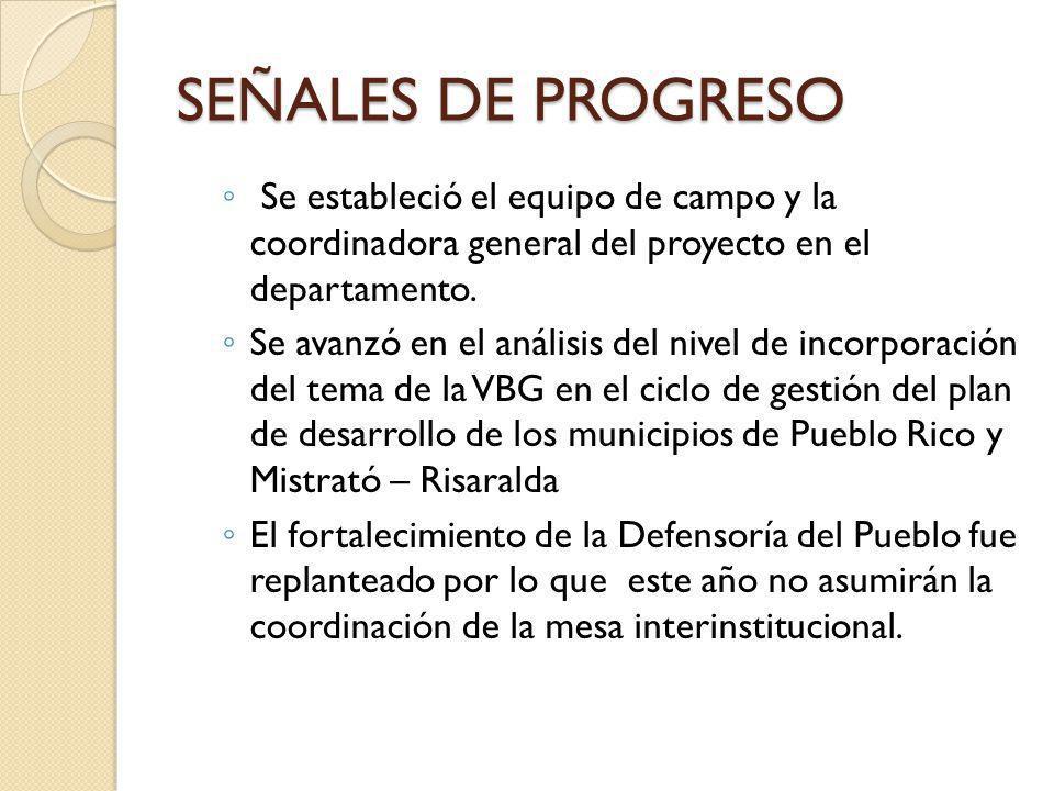 SEÑALES DE PROGRESO Se estableció el equipo de campo y la coordinadora general del proyecto en el departamento.