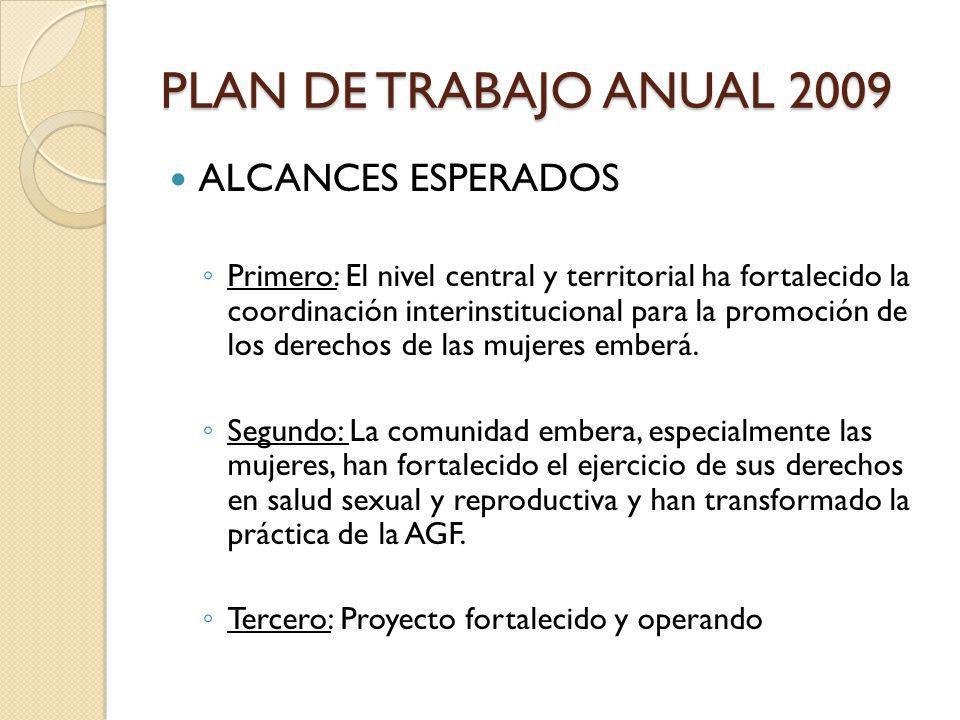PLAN DE TRABAJO ANUAL 2009 ALCANCES ESPERADOS