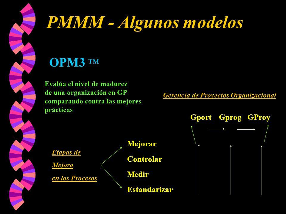 PMMM - Algunos modelos OPM3 ™ Gport Gprog GProy Mejorar Controlar