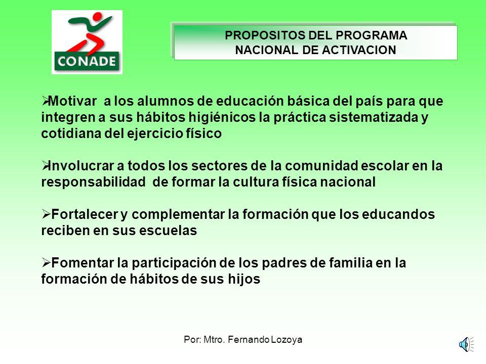 PROPOSITOS DEL PROGRAMA NACIONAL DE ACTIVACION