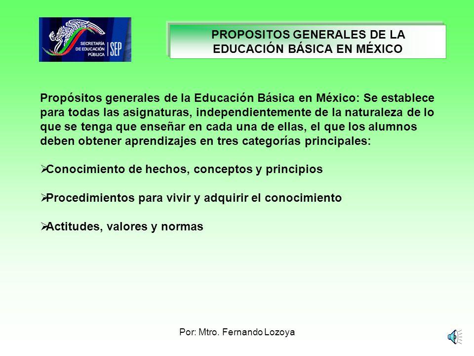 PROPOSITOS GENERALES DE LA EDUCACIÓN BÁSICA EN MÉXICO