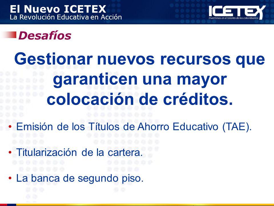 Desafíos Gestionar nuevos recursos que garanticen una mayor colocación de créditos. Emisión de los Títulos de Ahorro Educativo (TAE).