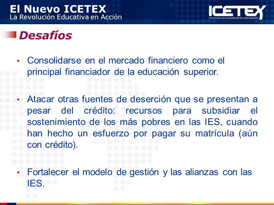 Desafíos Consolidarse en el mercado financiero como el principal financiador de la educación superior.