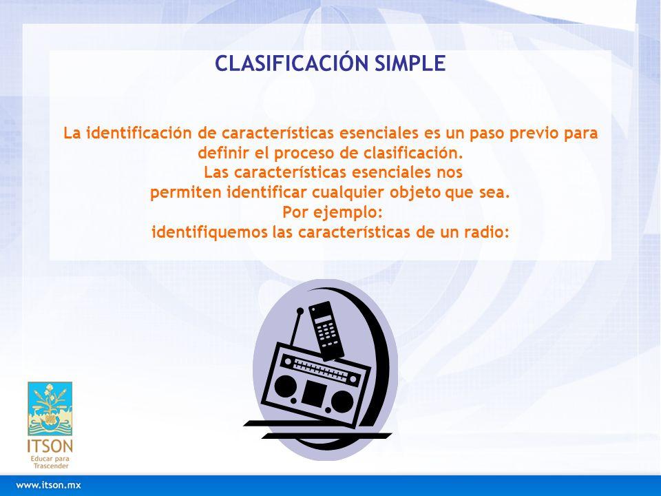CLASIFICACIÓN SIMPLE La identificación de características esenciales es un paso previo para definir el proceso de clasificación.
