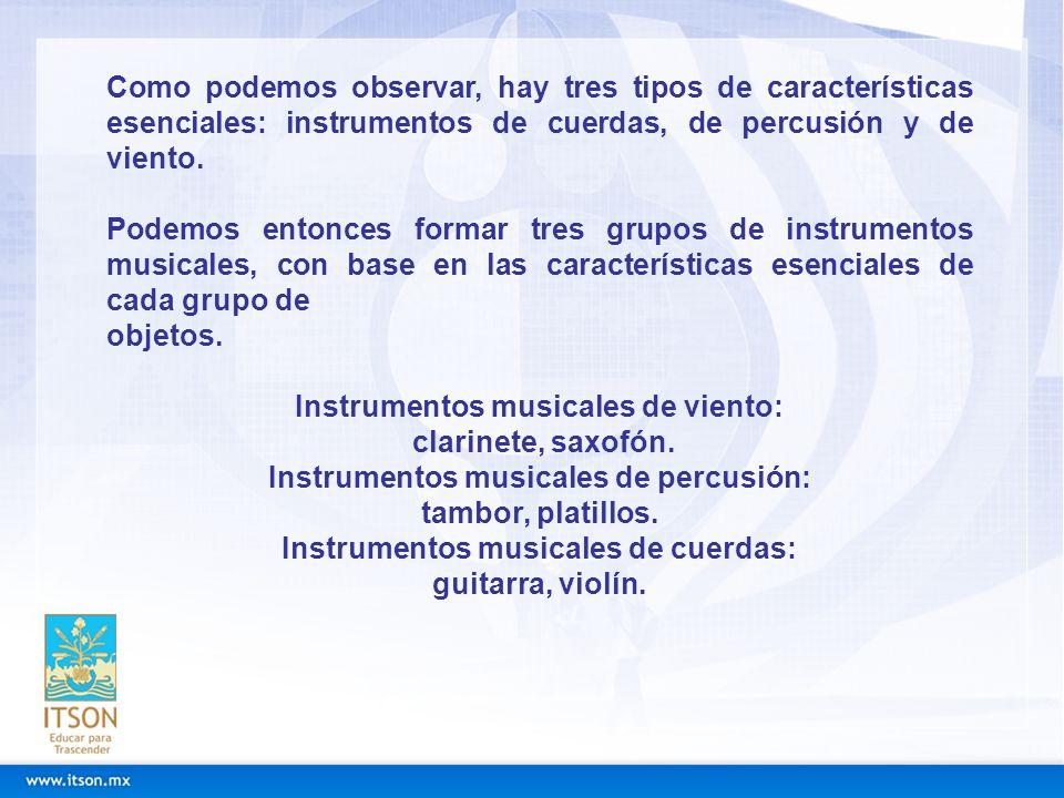 Instrumentos musicales de viento: clarinete, saxofón.