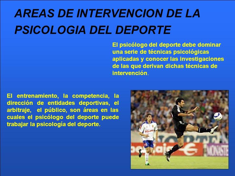 AREAS DE INTERVENCION DE LA PSICOLOGIA DEL DEPORTE