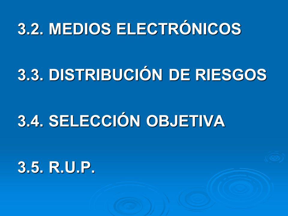 3.2. MEDIOS ELECTRÓNICOS 3.3. DISTRIBUCIÓN DE RIESGOS 3.4. SELECCIÓN OBJETIVA 3.5. R.U.P.