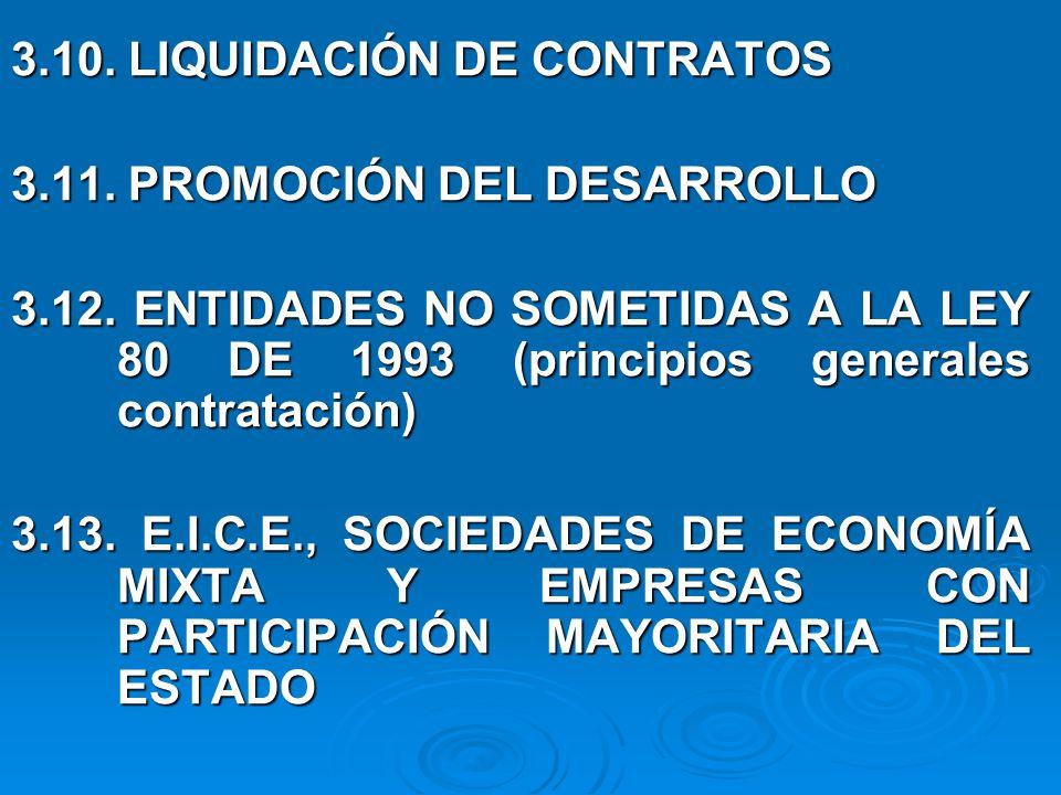 3.10. LIQUIDACIÓN DE CONTRATOS