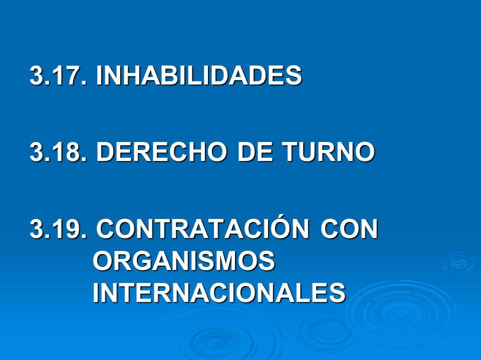 3.17. INHABILIDADES 3.18. DERECHO DE TURNO. 3.19.