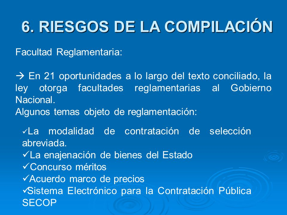 6. RIESGOS DE LA COMPILACIÓN