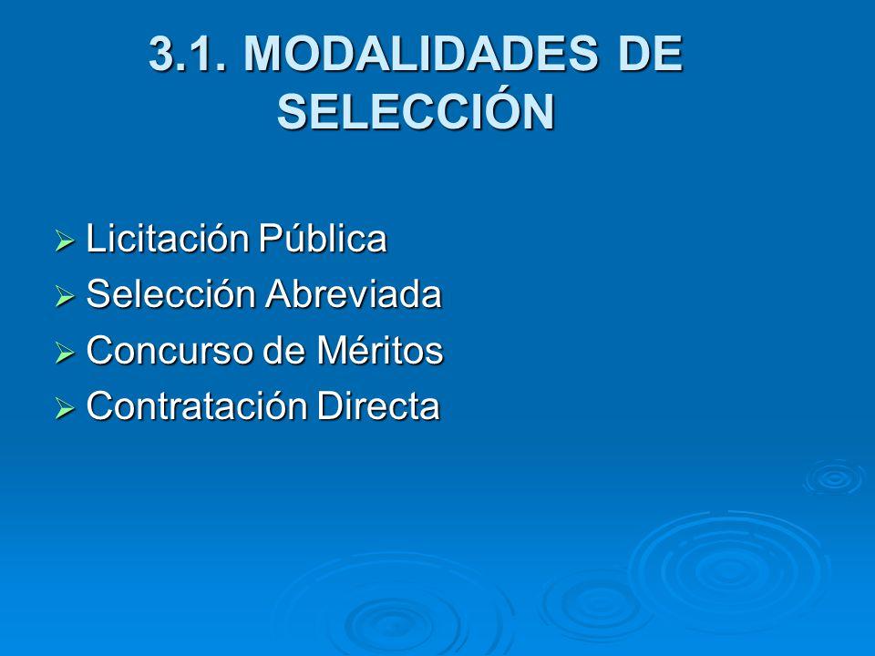 3.1. MODALIDADES DE SELECCIÓN