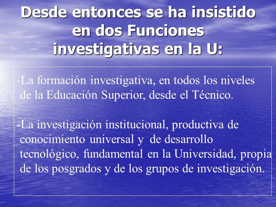 Desde entonces se ha insistido en dos Funciones investigativas en la U: