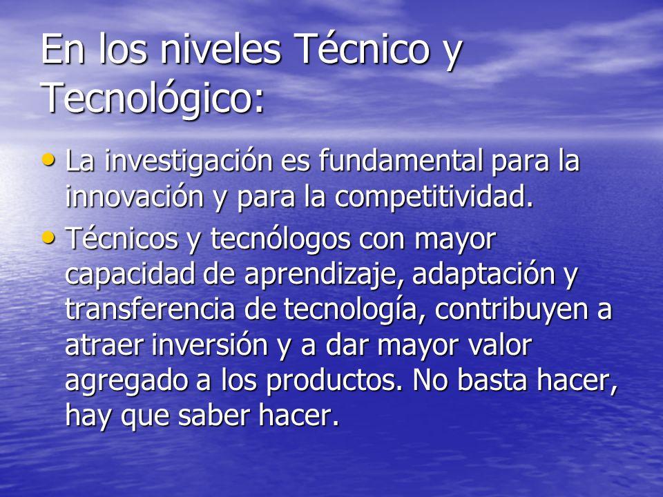 En los niveles Técnico y Tecnológico: