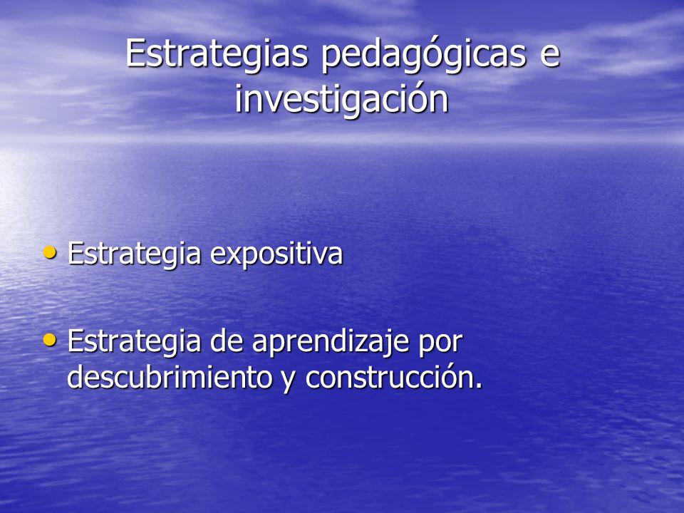 Estrategias pedagógicas e investigación