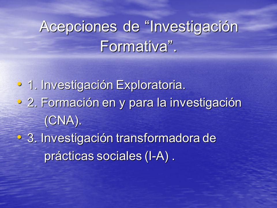 Acepciones de Investigación Formativa .