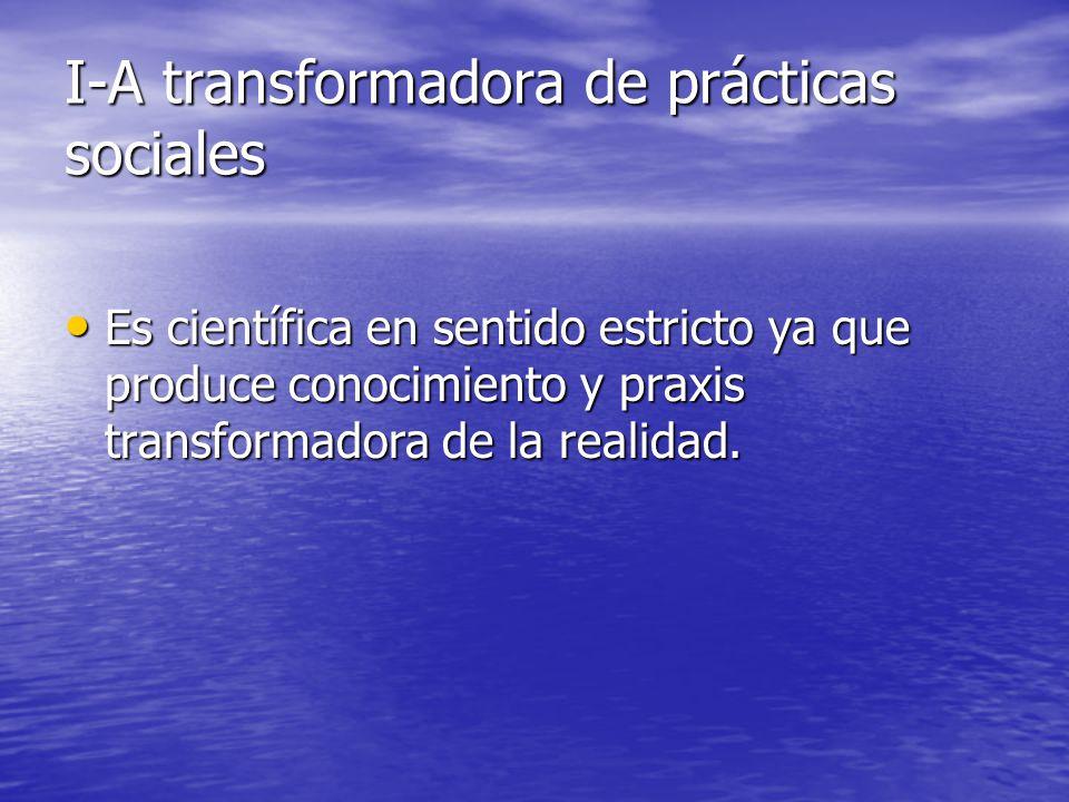 I-A transformadora de prácticas sociales