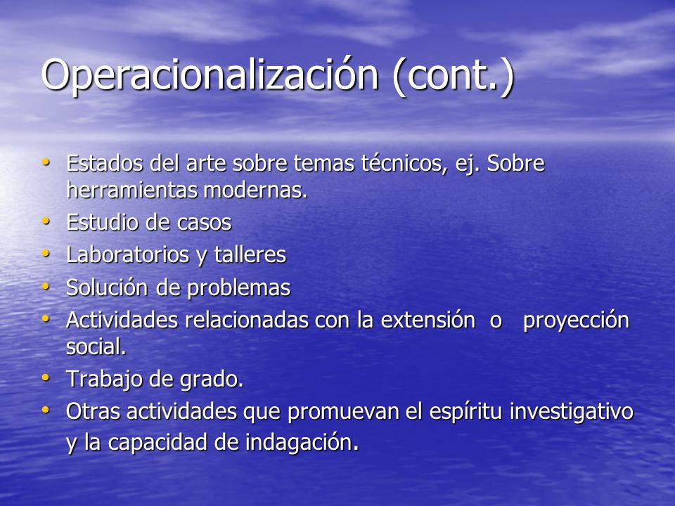 Operacionalización (cont.)