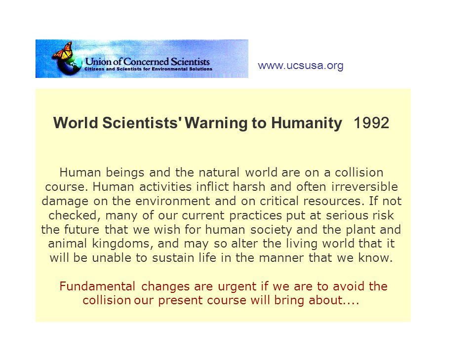World Scientists Warning to Humanity 1992