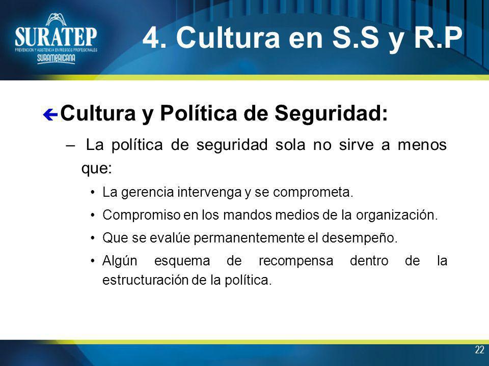 4. Cultura en S.S y R.P Cultura y Política de Seguridad: