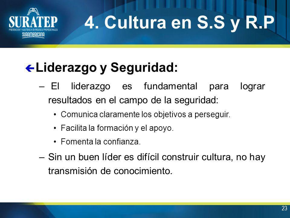 4. Cultura en S.S y R.P Liderazgo y Seguridad: