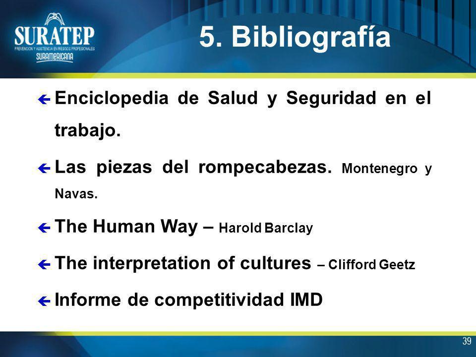 5. Bibliografía Enciclopedia de Salud y Seguridad en el trabajo.