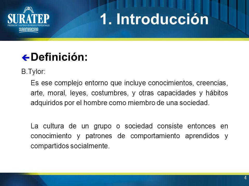 1. Introducción Definición: B.Tylor: