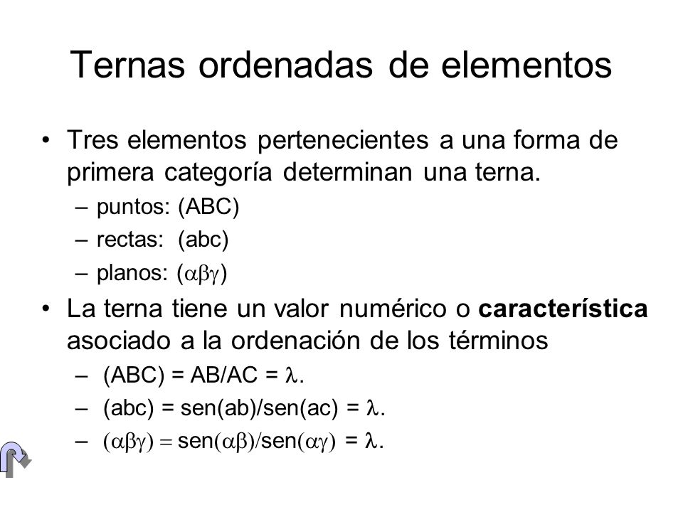 Ternas ordenadas de elementos