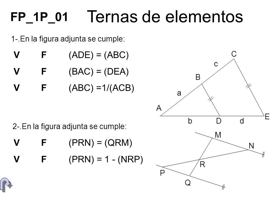Ternas de elementos FP_1P_01 V F (ADE) = (ABC) V F (BAC) = (DEA)