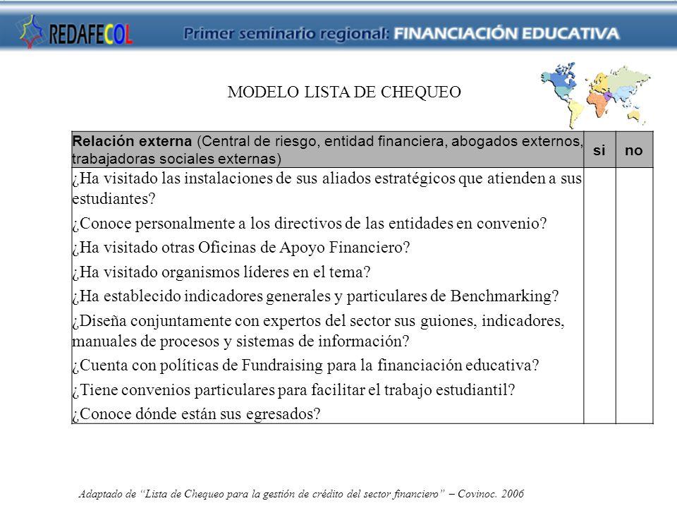 MODELO LISTA DE CHEQUEO