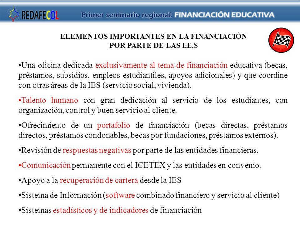 ELEMENTOS IMPORTANTES EN LA FINANCIACIÓN POR PARTE DE LAS I.E.S