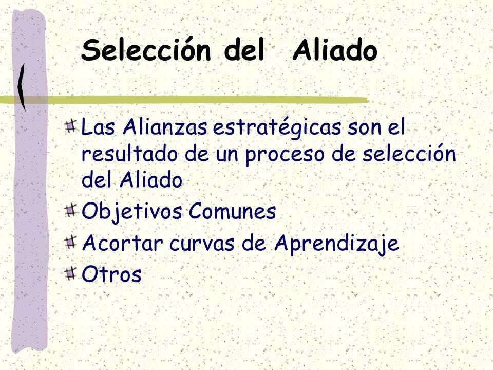 Selección del Aliado Las Alianzas estratégicas son el resultado de un proceso de selección del Aliado.