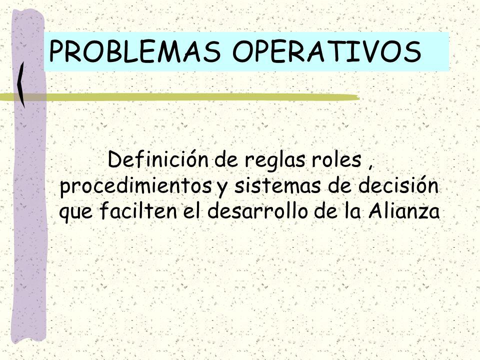 PROBLEMAS OPERATIVOS Definición de reglas roles , procedimientos y sistemas de decisión que facilten el desarrollo de la Alianza.