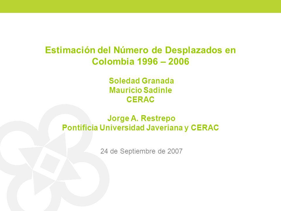 Estimación del Número de Desplazados en Colombia 1996 – 2006 Soledad Granada Mauricio Sadinle CERAC Jorge A. Restrepo Pontificia Universidad Javeriana y CERAC