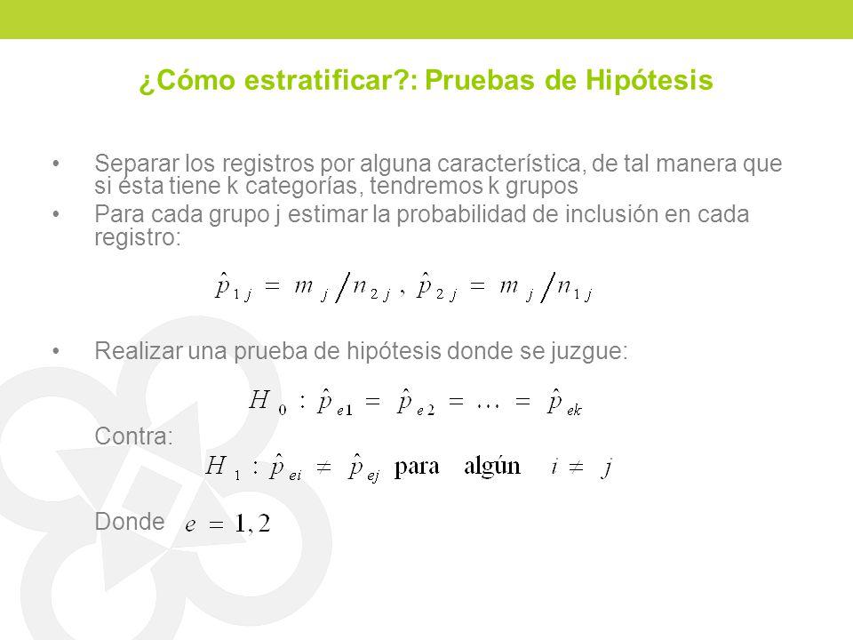 ¿Cómo estratificar : Pruebas de Hipótesis